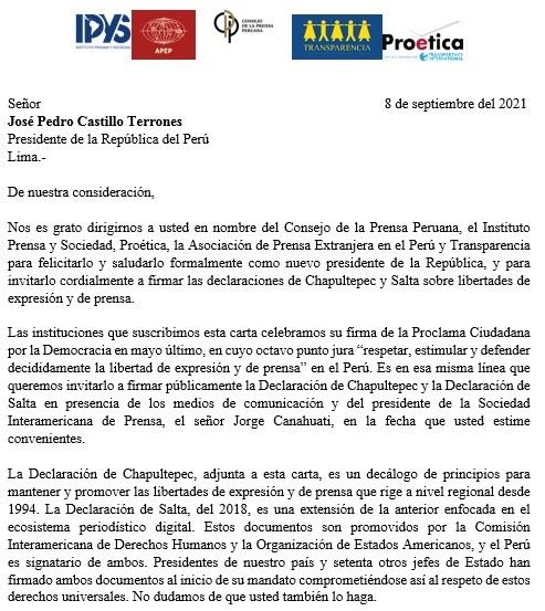 Organizaciones de la sociedad civil invitan al presidente Pedro Castillo a firmar declaraciones de Chapultepec y Salta